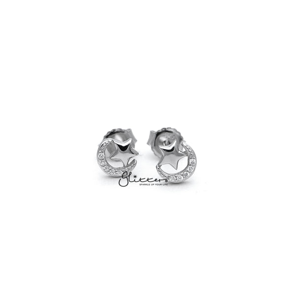 Sterling Silver C.Z Paved Moon with Star Women's Stud Earrings