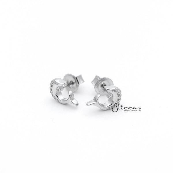 Sterling Silver C.Z Paved Dolphin Women's Stud Earrings
