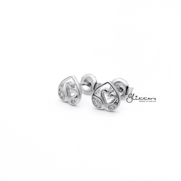 Sterling Silver C.Z Paved Swans Women's Stud Earrings-Glitters-New Zealand