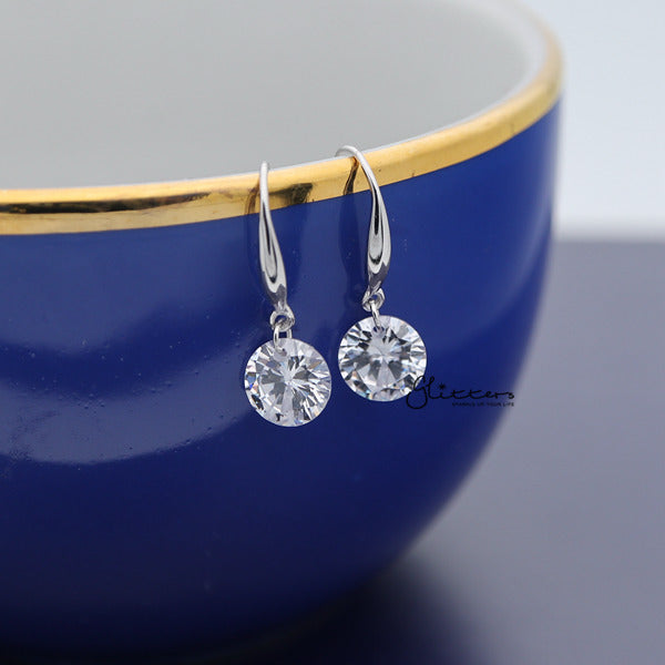 Sterling Silver Dangle Drop Women Earrings  With Cubic Zirconia Studs-Glitters-New Zealand
