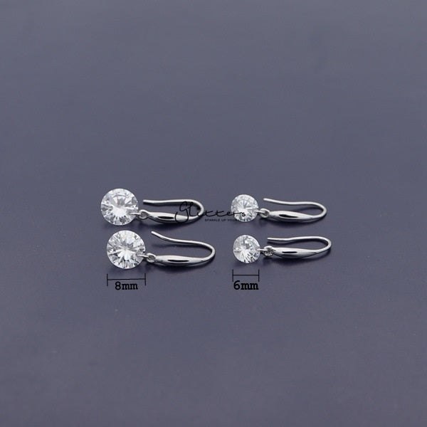Sterling Silver Dangle Drop Women Earrings  With Cubic Zirconia Studs
