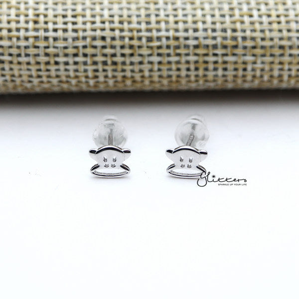 Solid 925 Sterling Silver Monkey Stud Earrings-Glitters-New Zealand