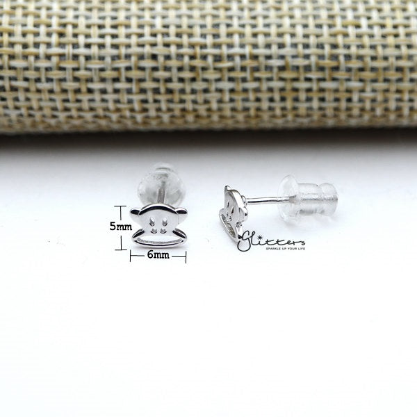 Solid 925 Sterling Silver Monkey Stud Earrings