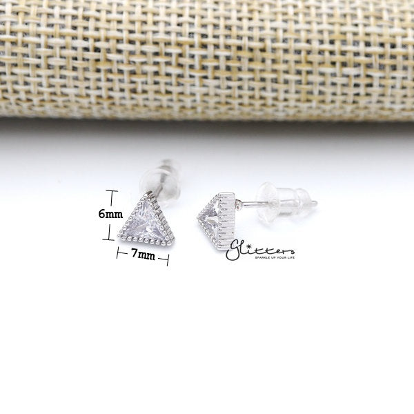 925 Sterling Silver Triangle Cubic Zirconia Stud Earrings