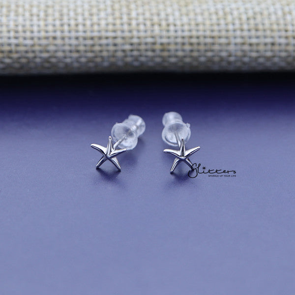 Solid 925 Sterling Silver Starfish Stud Women's Earrings-Glitters-New Zealand