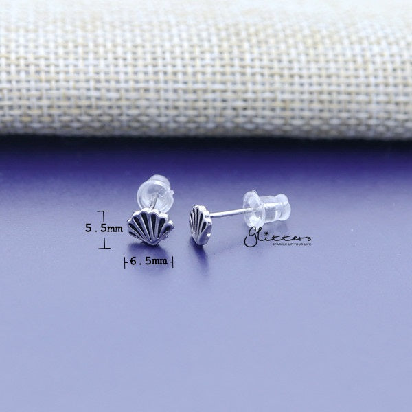 Solid 925 Sterling Silver Shell Stud Women's Earrings