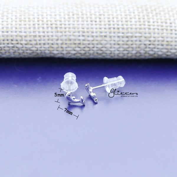 Solid 925 Sterling Silver Dolphin Stud Women's Earrings