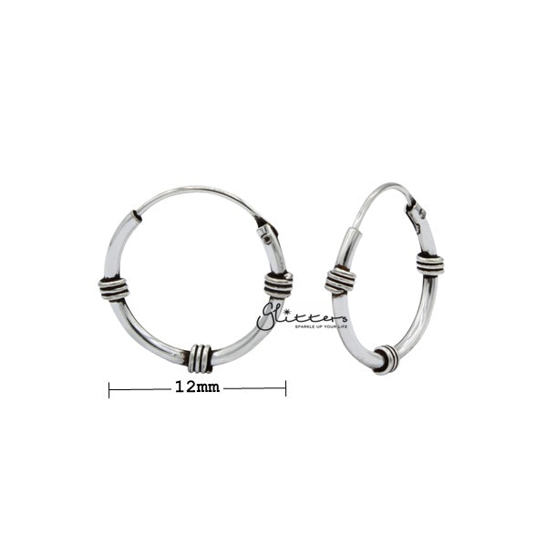 Sterling Silver Bali Hoop Sleeper Earrings - 12mm - SSE0301