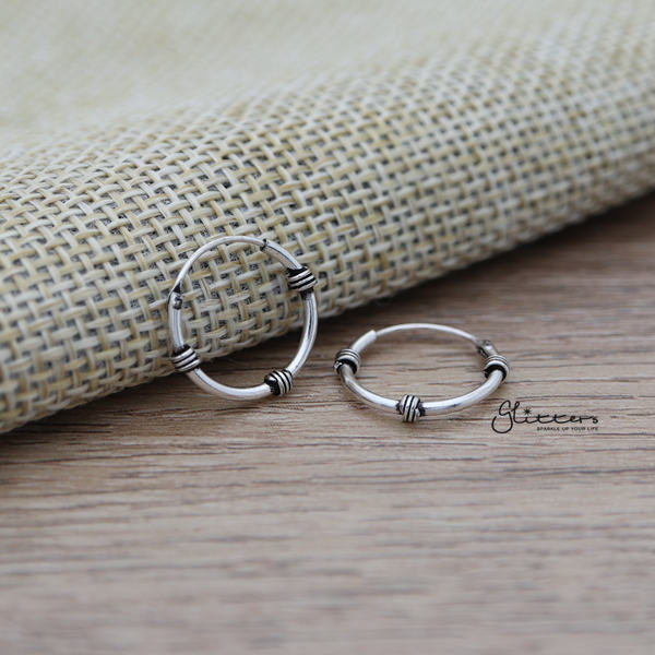 Sterling Silver Bali Hoop Sleeper Earrings - 14mm - SSE0302
