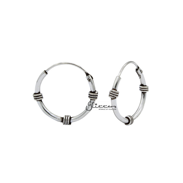 Sterling Silver Bali Hoop Sleeper Earrings - 14mm - SSE0302-Glitters-New Zealand
