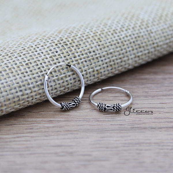 Sterling Silver Bali Hoop Sleeper Earrings - 14mm - SSE0303-Glitters-New Zealand