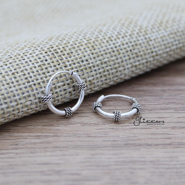 Sterling Silver Bali Hoop Sleeper Earrings - 14mm - SSE0304