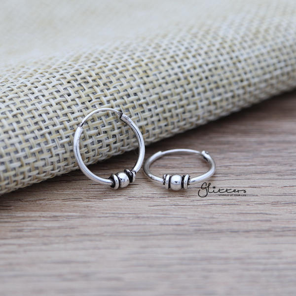 Sterling Silver Bali Hoop Sleeper Earrings - 14mm - SSE0305