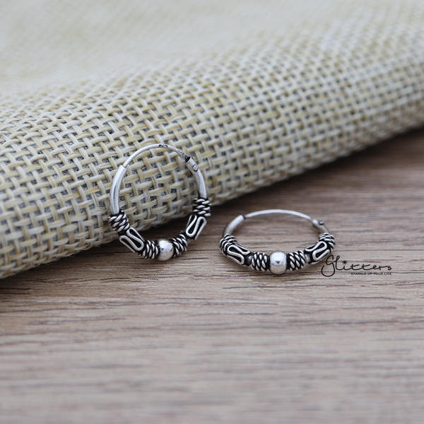 Sterling Silver Bali Hoop Sleeper Earrings - 14mm - SSE0306