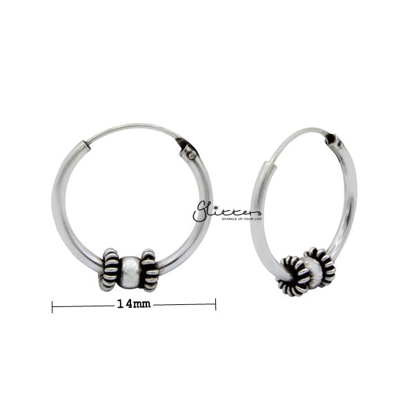 Sterling Silver Bali Hoop Sleeper Earrings - 14mm - SSE0307