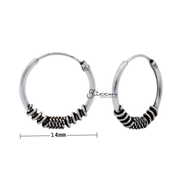 Sterling Silver Bali Hoop Sleeper Earrings - 14mm - SSE0308-Glitters-New Zealand