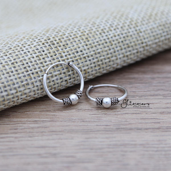 Sterling Silver Bali Hoop Sleeper Earrings - 14mm - SSE0309