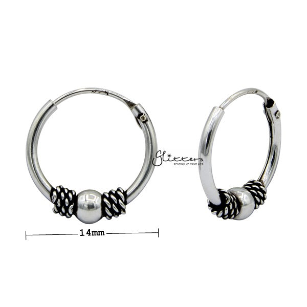 Sterling Silver Bali Hoop Sleeper Earrings - 14mm - SSE0309-Glitters-New Zealand