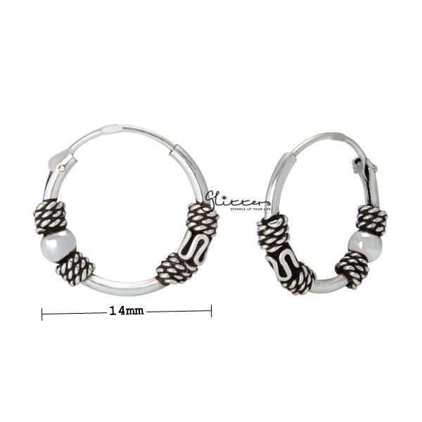 Sterling Silver Bali Hoop Sleeper Earrings - 14mm - SSE0311
