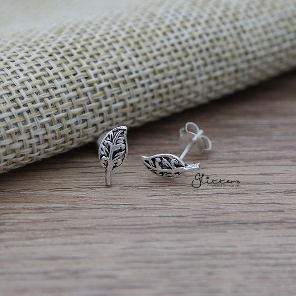 Solid 925 Sterling Silver Leaf Stud Earrings