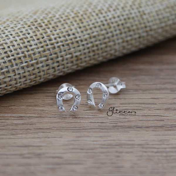 Solid 925 Sterling Silver Horseshoe Stud Earrings with Crystals