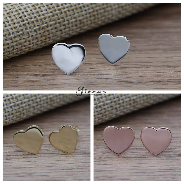 Solid 925 Sterling Silver Heart Stud Earrings