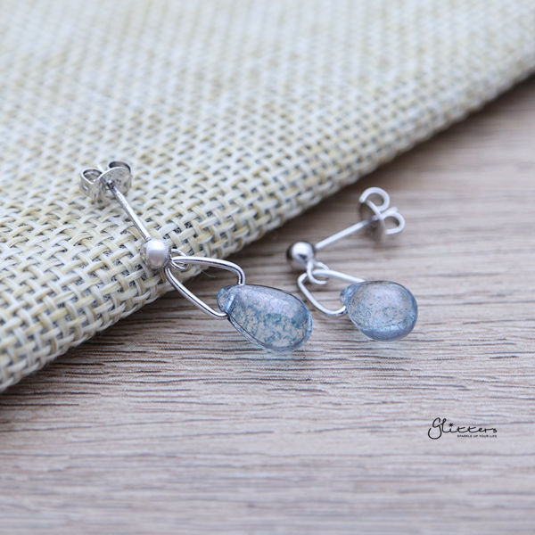 925 Sterling Silver Blue Water Drop Dangle Earrings-Glitters-New Zealand