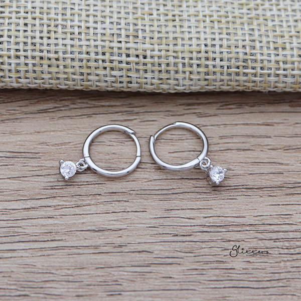 925 Sterling Silver One-Touch Hoop Earrings with Dangle C.Z-Glitters-New Zealand