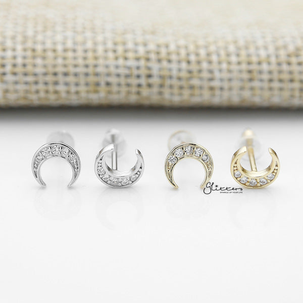 Solid 925 Sterling Silver CZ Crescent Moon Stud Earrings - Glitters-New Zealand