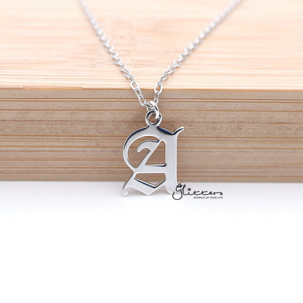 Personalized Sterling Silver Alphabet Necklace- Old English Font-Glitters-New Zealand