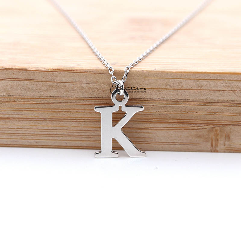 Personalized Sterling Silver Alphabet Necklace - Font C-Glitters-New Zealand