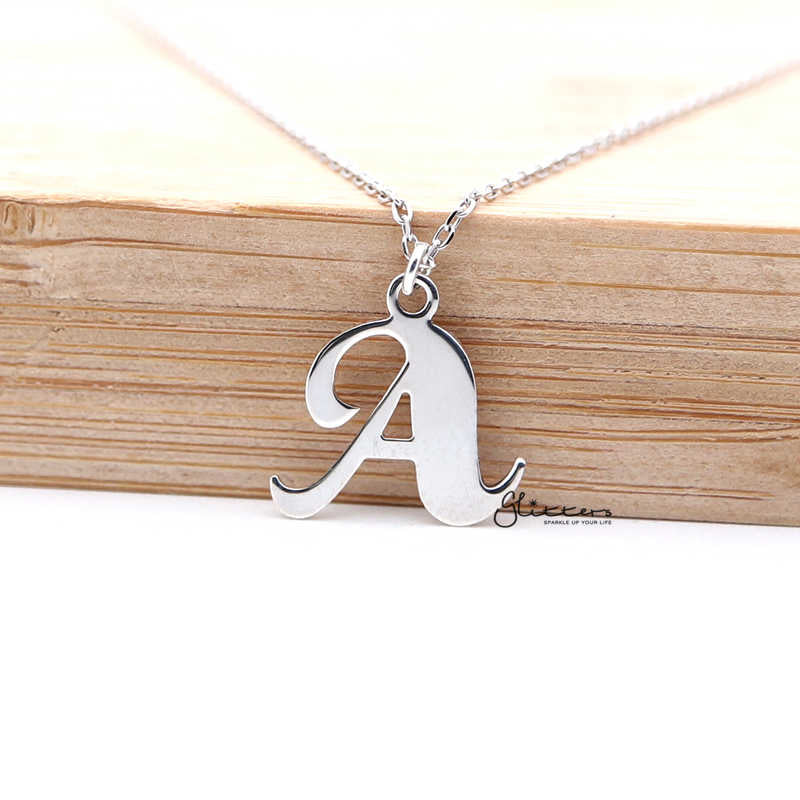 Personalized Sterling Silver Alphabet Necklace - Font 2-Glitters-New Zealand