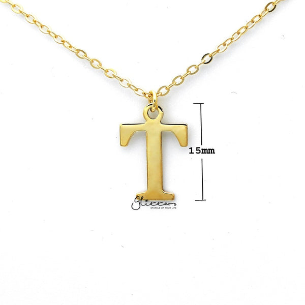 Personalized 24K Gold Plated over Sterling Silver Alphabet Necklace-Font 13-Glitters-New Zealand