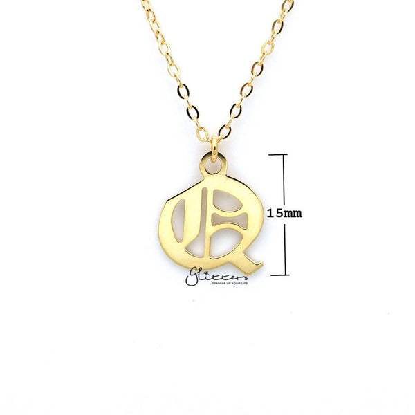 Personalized 24K Gold Plated over Sterling Silver Alphabet Necklace- Old English Font