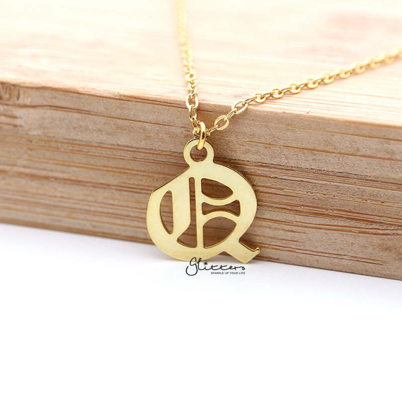 Personalized 24K Gold Plated over Sterling Silver Alphabet Necklace- Old English Font-Glitters-New Zealand
