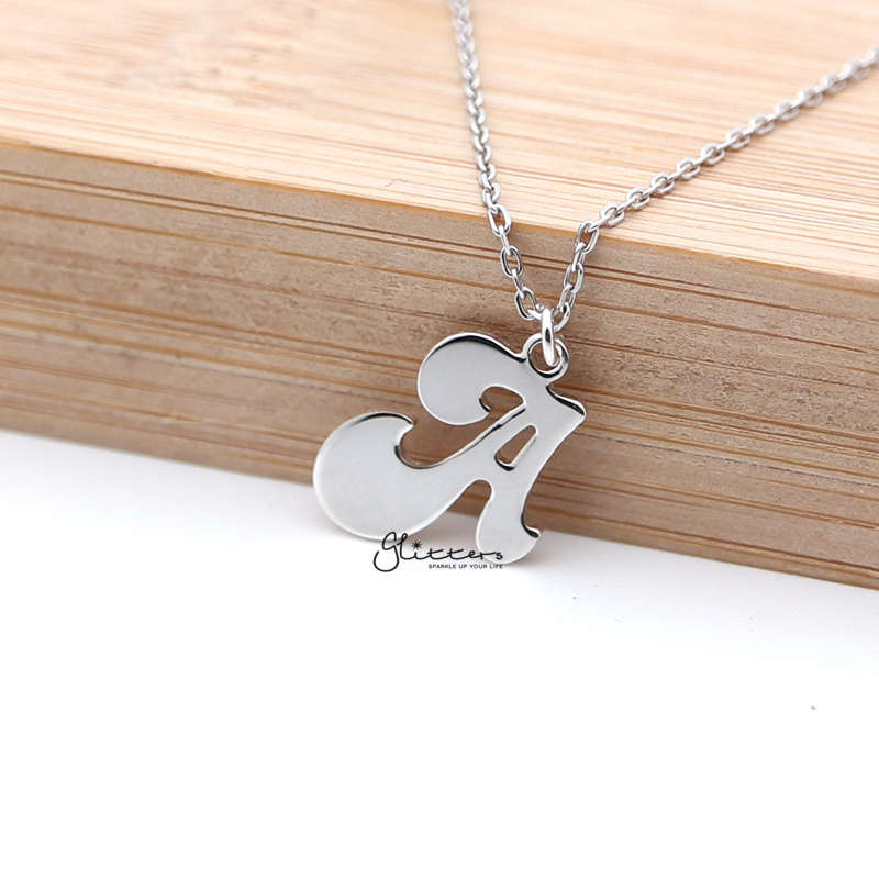 Personalized Sterling Silver Alphabet Necklace - Font 3-Glitters-New Zealand