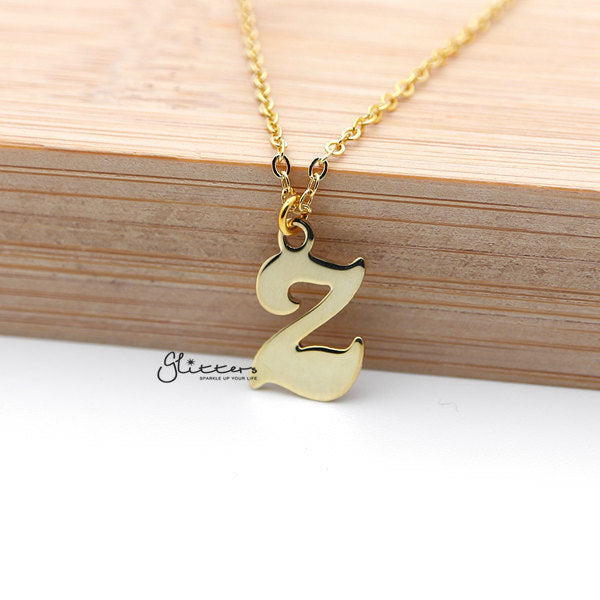Personalized 24K Gold Plated over Sterling Silver Alphabet Necklace-Font 3-Glitters-New Zealand