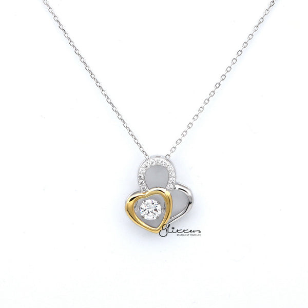 Sterling Silver Two Tone Double Hearts Women's Necklace