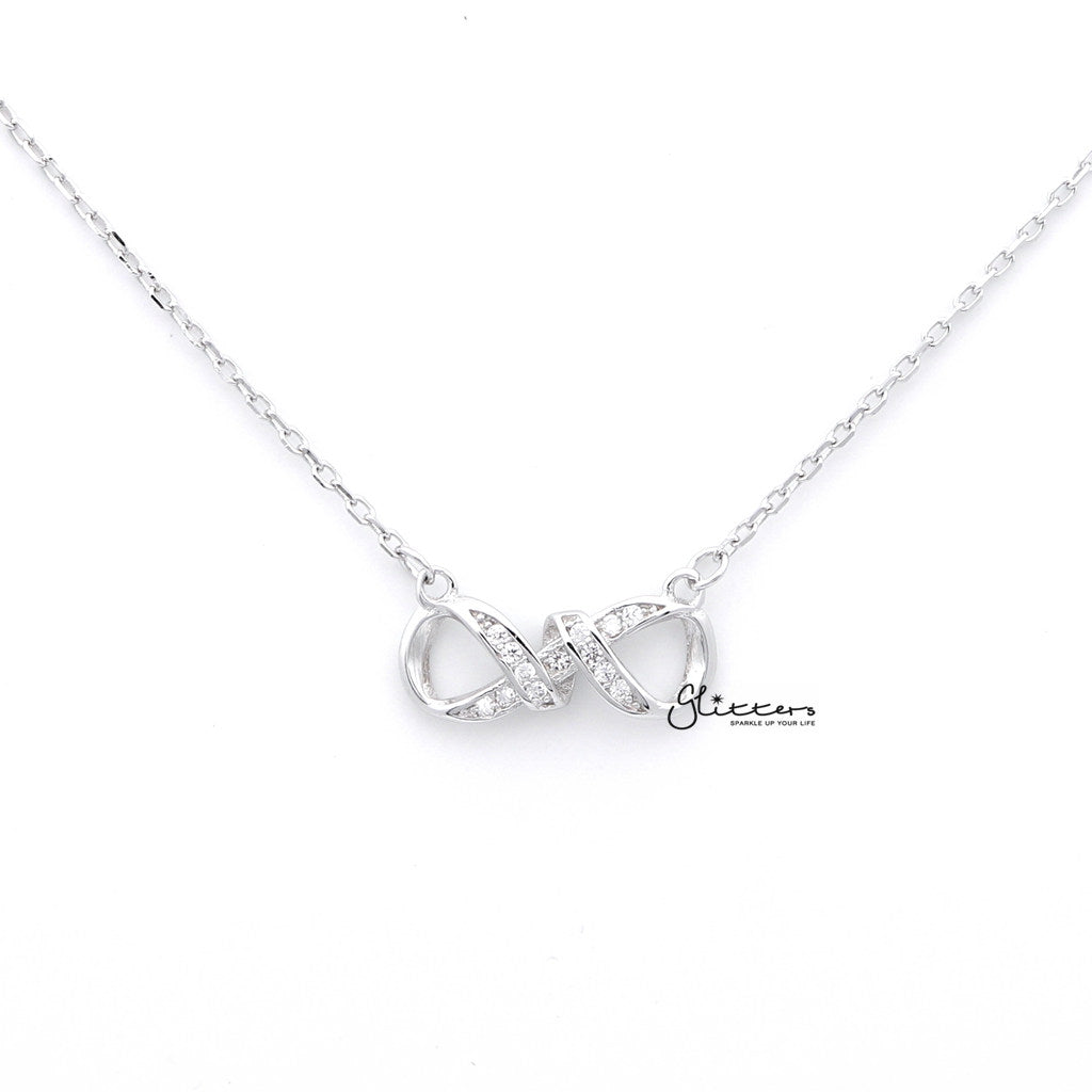 Sterling Silver C.Z Infinity Women's Necklace with 43cm Chain