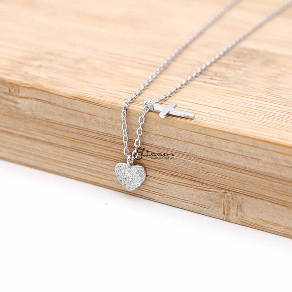 Sterling Silver CZ Paved Heart with Plain Cross Women's Necklace