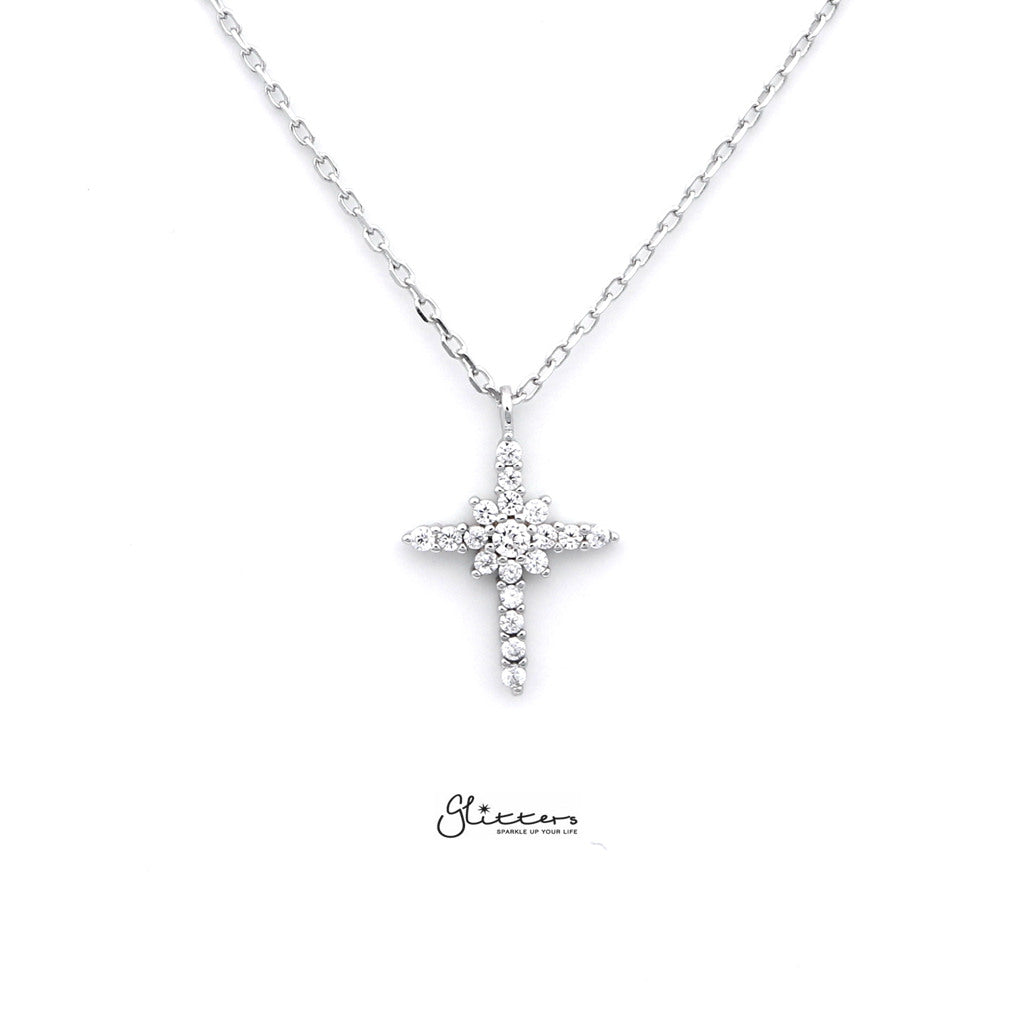 Sterling Silver CZ Paved Cross Women's Necklace with 43cm Chain-Glitters-New Zealand