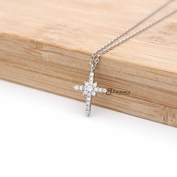 Sterling Silver CZ Paved Cross Women's Necklace with 43cm Chain