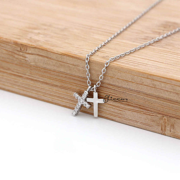 Sterling Silver CZ Paved Cross with Plain Cross Women's Necklace