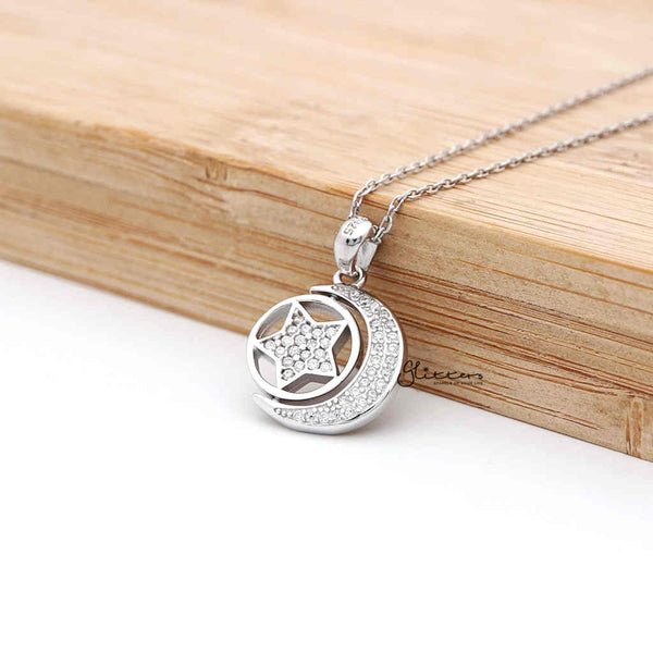 Sterling Silver CZ Paved Moon with Rotatable Double Sides Star in the Middle Women's Necklace