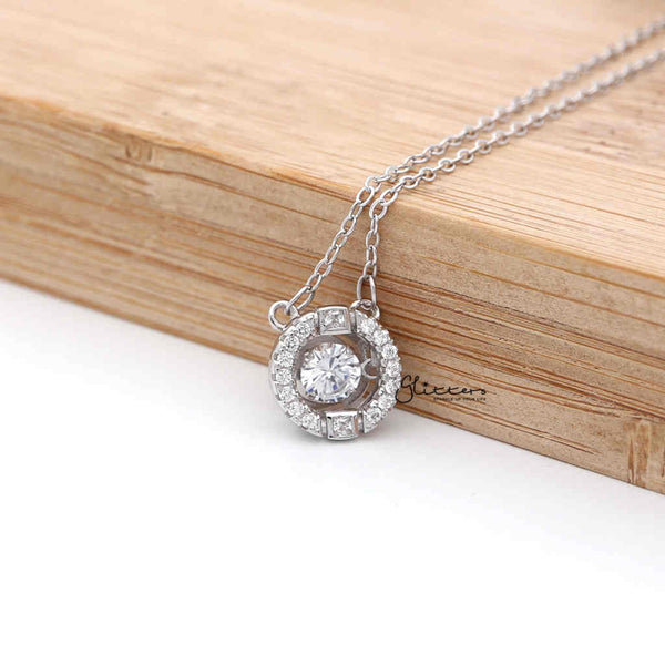 Sterling Silver Hollow CZ Paved Circle with a CZ Stone in The Middle Women's Necklace