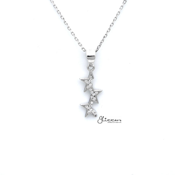Sterling Silver CZ Paved Three Half Stars Women's Necklace