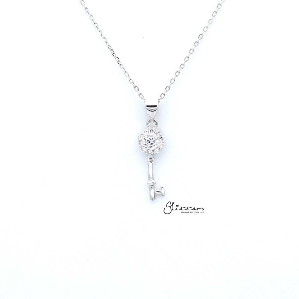 Sterling Silver C.Z Key Women's Necklace-Glitters-New Zealand