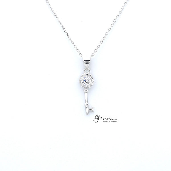 Sterling Silver C.Z Key Women's Necklace