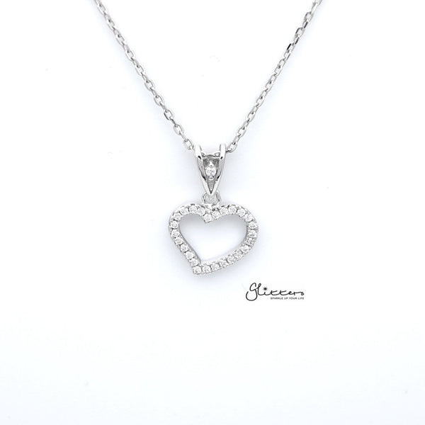 Sterling Silver C.Z Paved Hollow Heart Women's Necklace