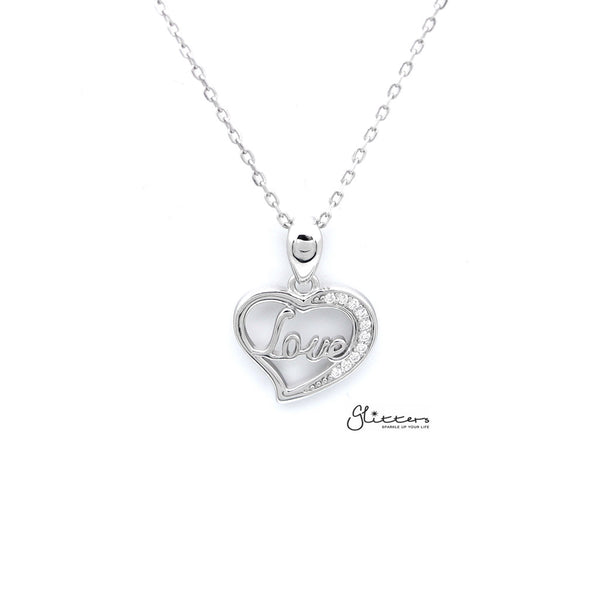 "Sterling Silver Hollow Heart with ""Love"" in the Middle Women's Necklace"